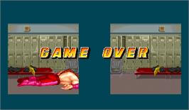 Game Over Screen for Muscle Bomber Duo: Ultimate Team Battle.