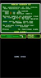 Game Over Screen for Ninja Gaiden Episode II: The Dark Sword of Chaos.