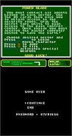 Game Over Screen for Power Blade.