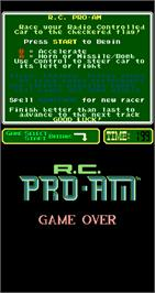 Game Over Screen for R.C. Pro-Am.
