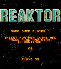 Game Over Screen for Reaktor.