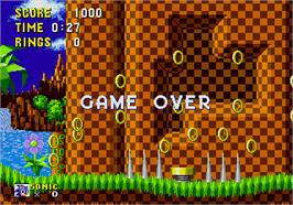 Game Over Screen for Sonic The Hedgehog.
