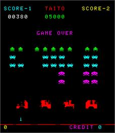Game Over Screen for Space Invaders Deluxe.