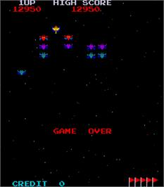 Game Over Screen for Space Invaders Galactica.