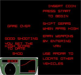 Game Over Screen for Spy Hunter 2.
