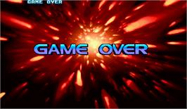 Game Over Screen for Street Fighter III 2nd Impact: Giant Attack.