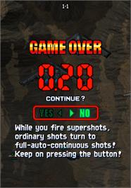 Game Over Screen for Strikers 1945 III.