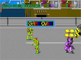 Game Over Screen for Teenage Mutant Hero Turtles.