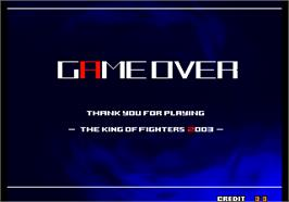 Game Over Screen for The King of Fighters 2003.