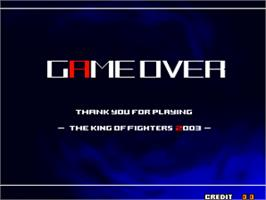 Game Over Screen for The King of Fighters 2004 Ultra Plus.