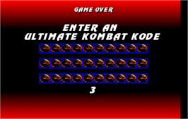 Game Over Screen for Ultimate Mortal Kombat 3.