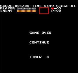 Game Over Screen for Vs. Castlevania.