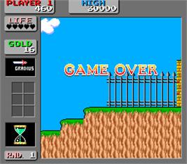 Game Over Screen for Wonder Boy in Monster Land.
