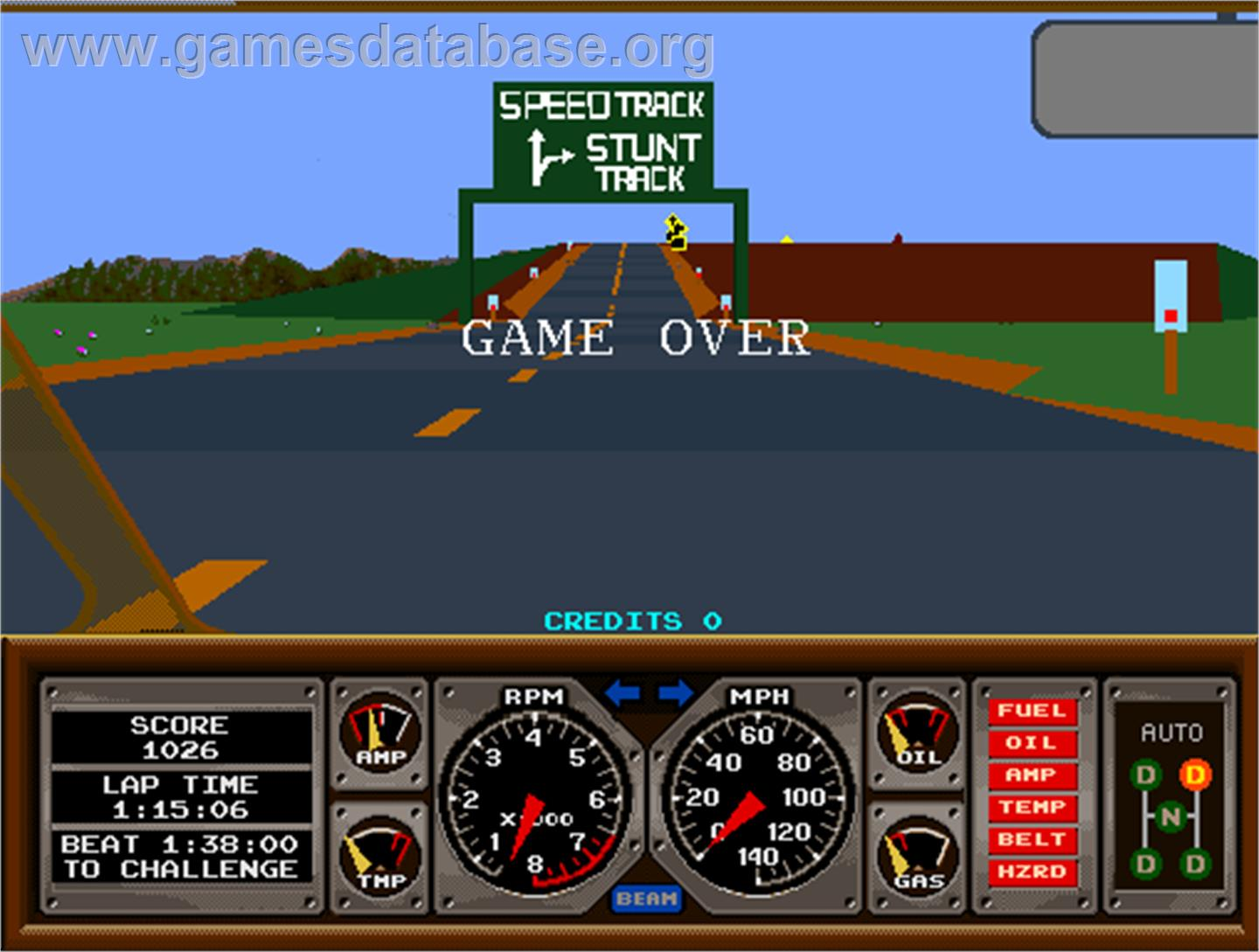 Hard Drivin' - Arcade - Artwork - Game Over Screen