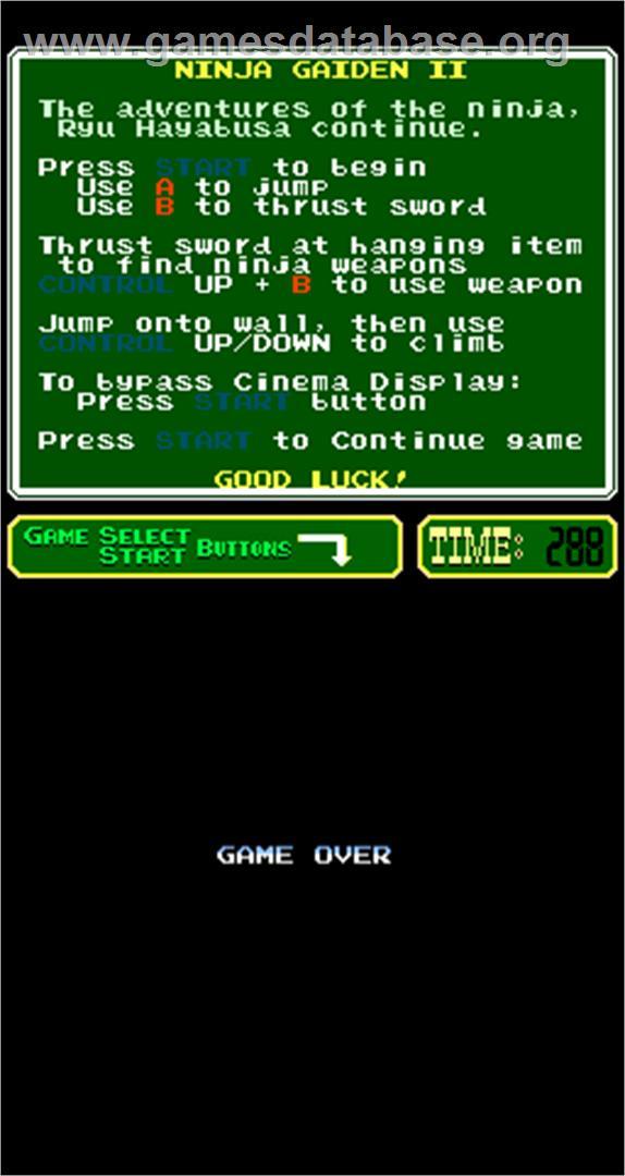 Ninja Gaiden Episode Ii The Dark Sword Of Chaos Arcade Artwork Game Over Screen