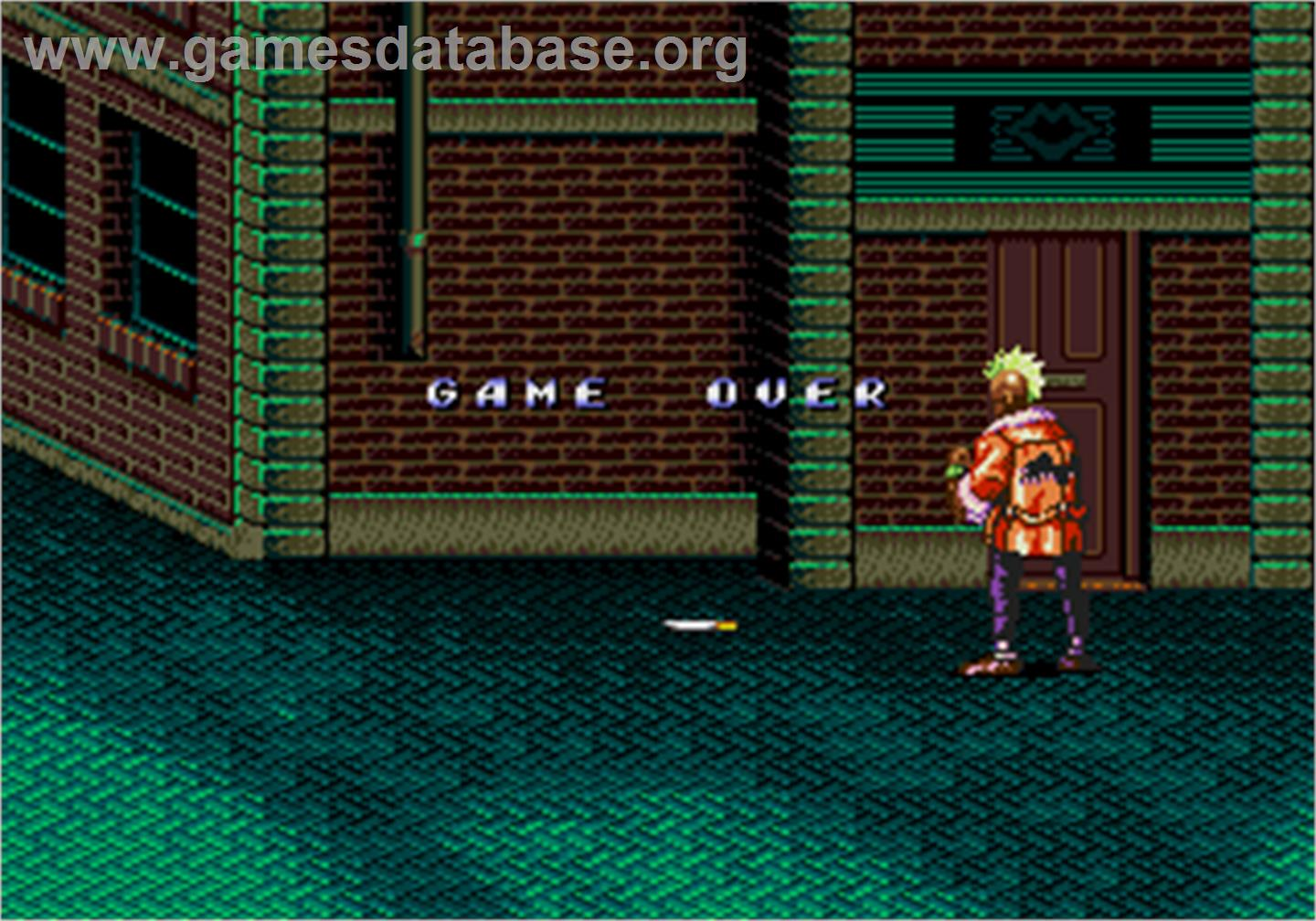 Game Over Screen for Streets of Rage II.