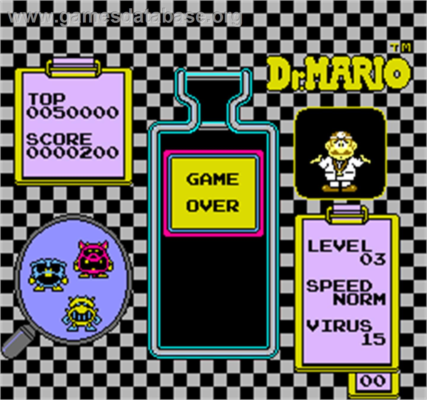 Vs. Dr. Mario - Arcade - Artwork - Game Over Screen