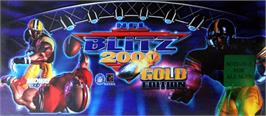 Arcade Cabinet Marquee for NFL Blitz 2000 Gold Edition.