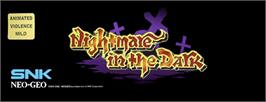 Arcade Cabinet Marquee for Nightmare in the Dark.