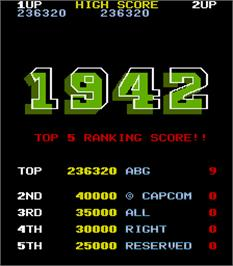 High Score Screen for 1942.