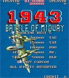 High Score Screen for 1943: Battle of Midway.