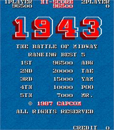 High Score Screen for 1943: The Battle of Midway.