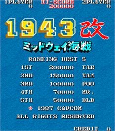 High Score Screen for 1943 Kai: Midway Kaisen.