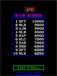 High Score Screen for APB - All Points Bulletin.
