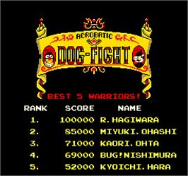 High Score Screen for Acrobatic Dog-Fight.