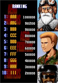 High Score Screen for Aero Fighters.