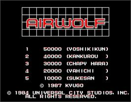 High Score Screen for Airwolf.