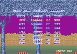 High Score Screen for Alex Kidd: The Lost Stars.
