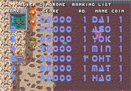 High Score Screen for Alien Syndrome.