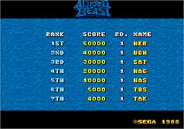 High Score Screen for Altered Beast.