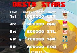 High Score Screen for Astra SuperStars.