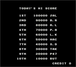 High Score Screen for Avenging Spirit.
