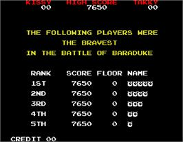 High Score Screen for Baraduke.