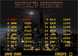 High Score Screen for Batman.