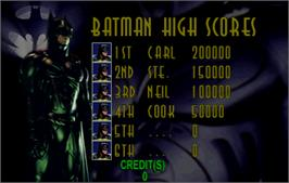 High Score Screen for Batman Forever.