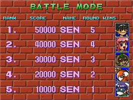 High Score Screen for Battle Balls.