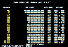 High Score Screen for Bay Route.