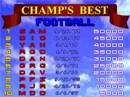 High Score Screen for Beat the Champ.