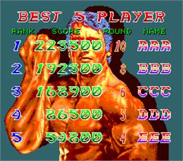 High Score Screen for Best Of Best.