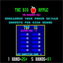 High Score Screen for Big Apple Games.