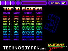 High Score Screen for Block Out.
