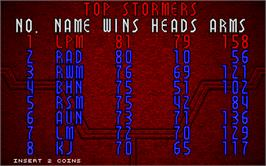 High Score Screen for Blood Storm.