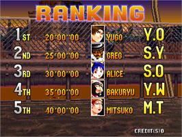 High Score Screen for Bloody Roar.