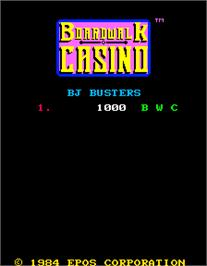 High Score Screen for Boardwalk Casino.