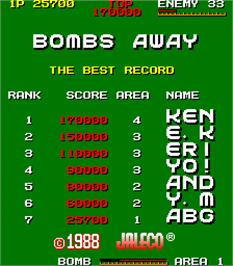 High Score Screen for Bombs Away.