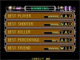High Score Screen for Boogie Wings.